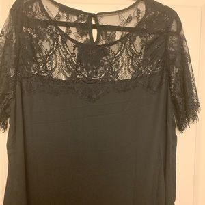 Tops - Black Lace Collar Top